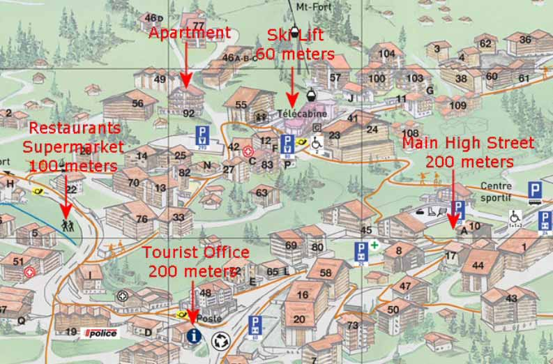 Map of Nendaz Apartment